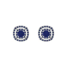 Cushion Blue Sapphire 14K White Gold Earring with Blue Sapphire
