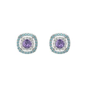 Cushion Iolite 14K White Gold Earring with White Sapphire and London Blue Topaz