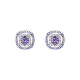 Cushion Iolite 14K White Gold Earring with White Sapphire and Iolite