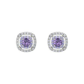 Cushion Iolite 14K White Gold Earring with Iolite and Diamond