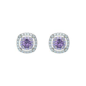 Cushion Iolite 14K White Gold Earring with Iolite and Aquamarine