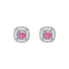 Cushion Pink Tourmaline 14K White Gold Earrings with London Blue Topaz & White Sapphire