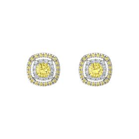 Cushion Yellow Sapphire 14K White Gold Earring with Diamond and Yellow Sapphire