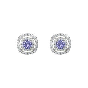 Cushion Tanzanite 14K White Gold Earrings with Diamond