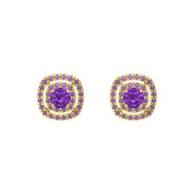 Cushion Amethyst 14K Yellow Gold Earring with Amethyst