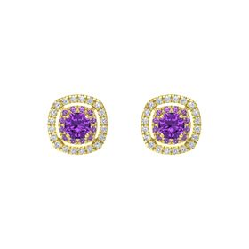 Cushion Amethyst 14K Yellow Gold Earring with Amethyst and Diamond