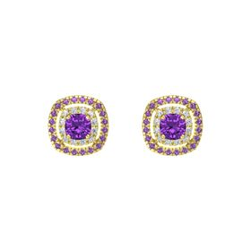 Cushion Amethyst 14K Yellow Gold Earring with Diamond and Amethyst