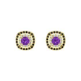 Cushion Amethyst 14K Yellow Gold Earring with Diamond and Black Diamond