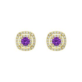 Cushion Amethyst 14K Yellow Gold Earrings with Diamond