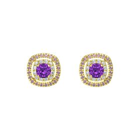 Cushion Amethyst 14K Yellow Gold Earring with Diamond and Rhodolite Garnet