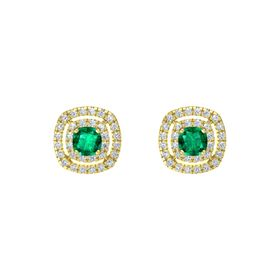 Cushion Emerald 14K Yellow Gold Earring with Diamond