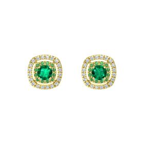 Cushion Emerald 14K Yellow Gold Earring with Emerald and Diamond