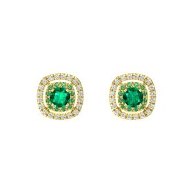 Cushion Emerald 14K Yellow Gold Earring with Emerald and White Sapphire