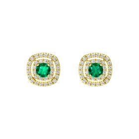Cushion Emerald 14K Yellow Gold Earring with White Sapphire