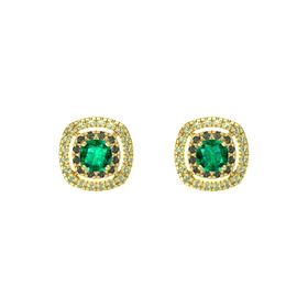 Cushion Emerald 14K Yellow Gold Earring with Green Tourmaline and Peridot