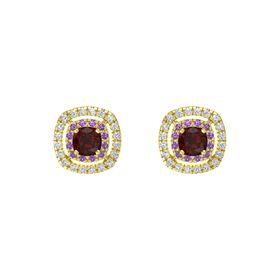 Cushion Red Garnet 14K Yellow Gold Earring with Amethyst and Diamond