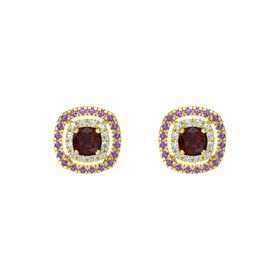 Cushion Red Garnet 14K Yellow Gold Earring with Diamond and Amethyst