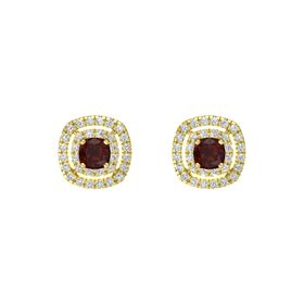 Cushion Red Garnet 14K Yellow Gold Earring with White Sapphire and Diamond