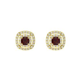 Cushion Red Garnet 14K Yellow Gold Earring with White Sapphire