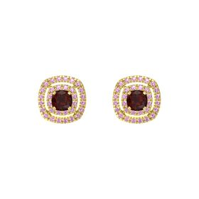 Cushion Red Garnet 14K Yellow Gold Earring with Pink Tourmaline