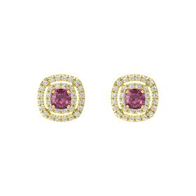 Cushion Rhodolite Garnet 14K Yellow Gold Earring with White Sapphire