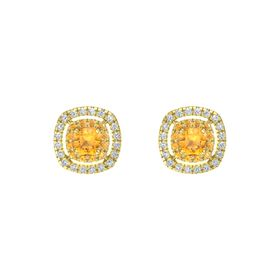 Cushion Citrine 14K Yellow Gold Earring with Citrine and Diamond