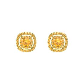 Cushion Citrine 14K Yellow Gold Earring with Citrine