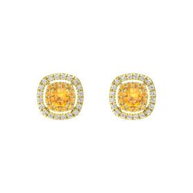 Cushion Citrine 14K Yellow Gold Earring with Citrine and White Sapphire