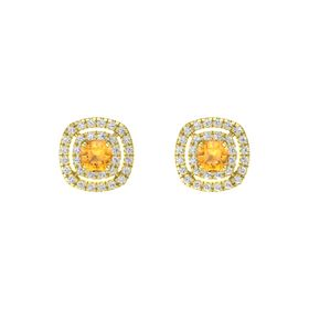 Cushion Citrine 14K Yellow Gold Earrings with White Sapphire