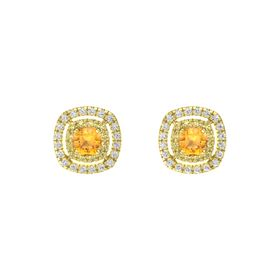 Cushion Citrine 14K Yellow Gold Earring with Yellow Sapphire and White Sapphire