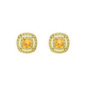 Cushion Citrine 14K Yellow Gold Earrings with Yellow Sapphire
