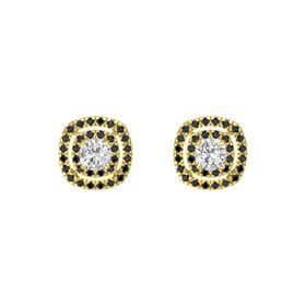 Cushion White Sapphire 14K Yellow Gold Earring with Black Diamond