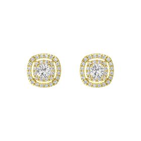 Cushion White Sapphire 14K Yellow Gold Earring with White Sapphire and Diamond