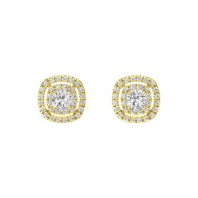 Cushion White Sapphire 14K Yellow Gold Earring with White Sapphire