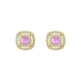 Cushion Pink Sapphire 14K Yellow Gold Earring with Diamond