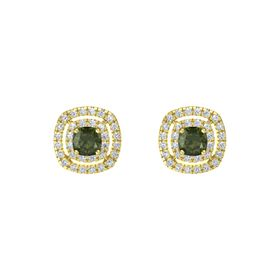 Cushion Green Tourmaline 14K Yellow Gold Earring with Diamond
