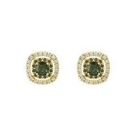 Cushion Green Tourmaline 14K Yellow Gold Earring with Green Tourmaline and Diamond