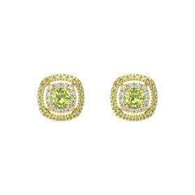 Cushion Peridot 14K Yellow Gold Earring with Diamond and Peridot
