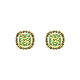 Cushion Peridot 14K Yellow Gold Earring with Emerald and Green Tourmaline