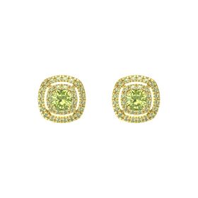 Cushion Peridot 14K Yellow Gold Earring with Peridot