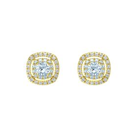 Cushion Aquamarine 14K Yellow Gold Earring with Aquamarine and Diamond