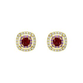 Cushion Ruby 14K Yellow Gold Earring with Amethyst and Diamond