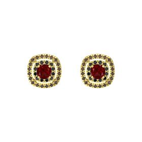 Cushion Ruby 14K Yellow Gold Earring with Black Diamond and Smoky Quartz