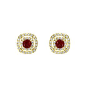 Cushion Ruby 14K Yellow Gold Earring with Diamond
