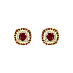 Cushion Ruby 14K Yellow Gold Earring with Diamond and Ruby