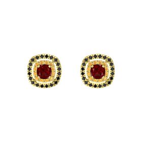 Cushion Ruby 14K Yellow Gold Earring with Citrine and Black Diamond