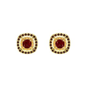 Cushion Ruby 14K Yellow Gold Earring with Citrine and Red Garnet