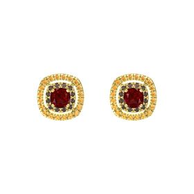 Cushion Ruby 14K Yellow Gold Earring with Smoky Quartz and Citrine