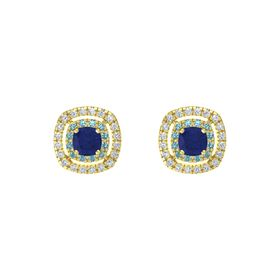 Cushion Blue Sapphire 14K Yellow Gold Earring with London Blue Topaz and Diamond