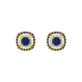 Cushion Blue Sapphire 14K Yellow Gold Earring with Diamond and Blue Sapphire